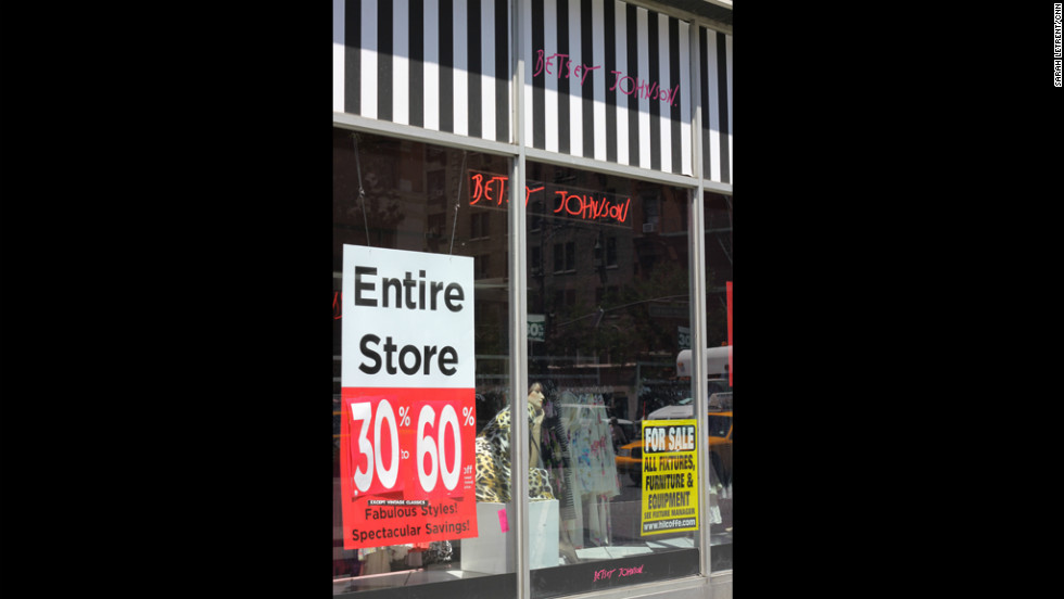 Betsey Johnson announced it would be closing all its retail stores, including this one on New York's Upper West Side,  after it filed for Chapter 11 bankruptcy in April 2012.