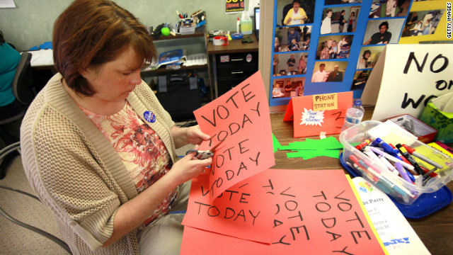 Kerry Southers prepares for the recall vote at the Democratic Party headquarters Monday in Janesville, Wisconsin.