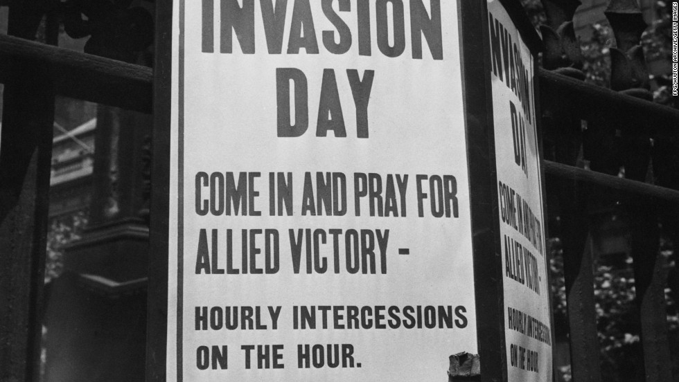 A sign outside of Trinity Church in New York invites worshippers to pray for Allied victory in the D-Day invasion.