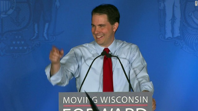Wisconsin Gov. Scott Walker gives victory speech after the recall election results came in Tuesday evening.