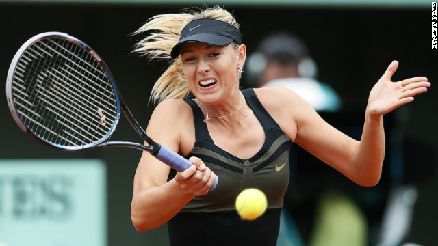 Maria Sharapova needs two more victories to win the French Open title and complete a career grand slam
