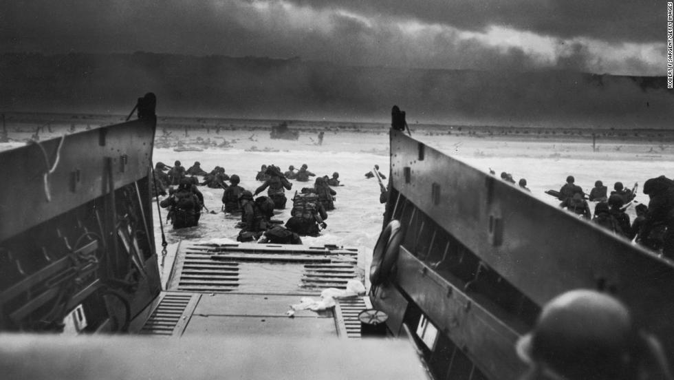 American troops storm the beaches of Normandy, France, on June 6, 1944. D-Day was the largest seaborne invasion in history. More than 150,000 Allied troops -- about half of them Americans -- invaded Western Europe, overwhelming German forces in an operation that proved to be a turning point in World War II.