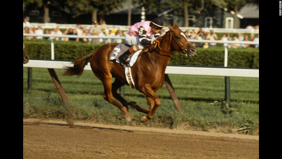 Jockey Steve Cauthen rides Affirmed to a Belmont victory in 1978.