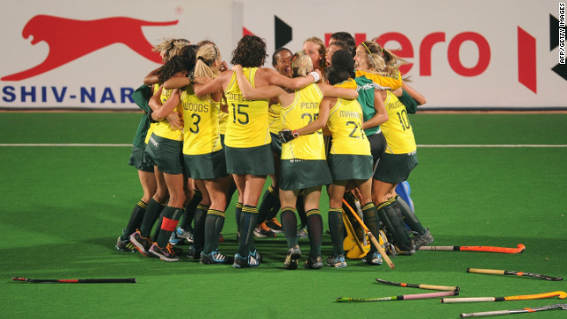File photo of South Africa hockey players in New Delhi on February 25, 2012.
