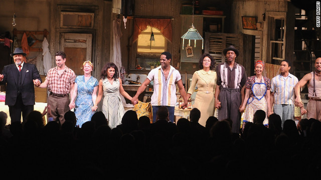 The cast of 'A Streetcar Named Desire' pictured onstage during curtain call at the opening night.