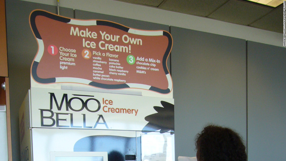 "At Boston's Logan International Airport, you can simply step up to the MooBella interactive touch screen, key in your choices, and in less than a minute, out pops your tasty made-to-order frozen concoction. <a href=""http://www.massport.com/logan-airport"" target=""_blank"">www.massport.com/logan-airport</a>"