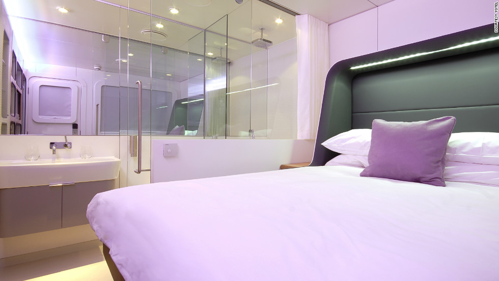 Inside the Yotel standard cabin. All Yotel rooms come equipped with en suites, including monsoon shower heads.