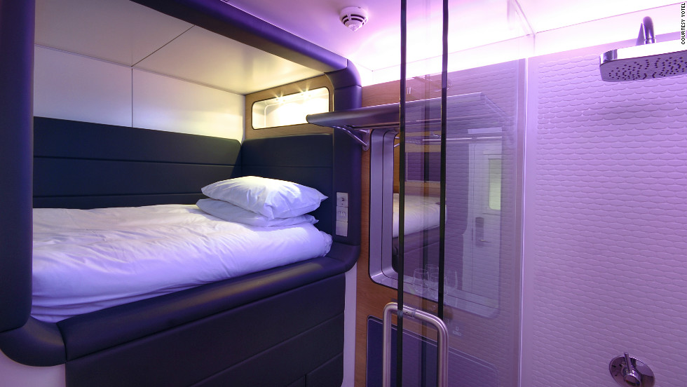 A new breed of short-stay, pay-by-the-hour micro-hotels popping up in airport terminals around the world. Pictured is a Yotel premium cabin. Yotel operates in London's Heathrow and Gatwick, and Amsterdam's Schiphol airports.