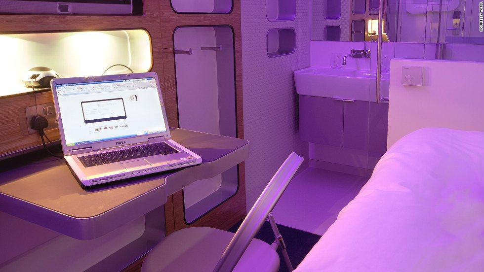 The workdesk inside a premium Yotel cabin. The designers behind the Yotel say they were inspired by first-class airline cabins; user reviews have likened them to a space ship.