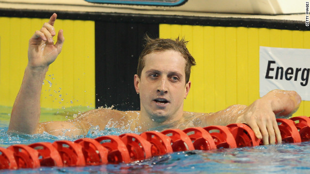 Nick D'Arcy celebrates winning the Men's 200 Metre Butterfly during the Australian Olympic Swimming Trials in March.