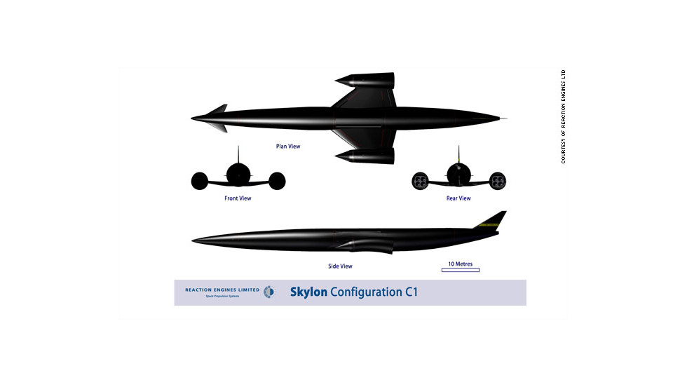 If built, Skylon would be around 90 meters long and be propelled by two specially designed hybrid air-breathing rocket engines.