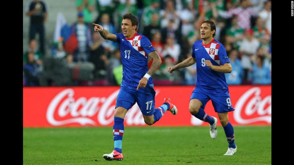 Mario Mandzukic celebrates after scoring the opening goal for Croatia during the match against Ireland.