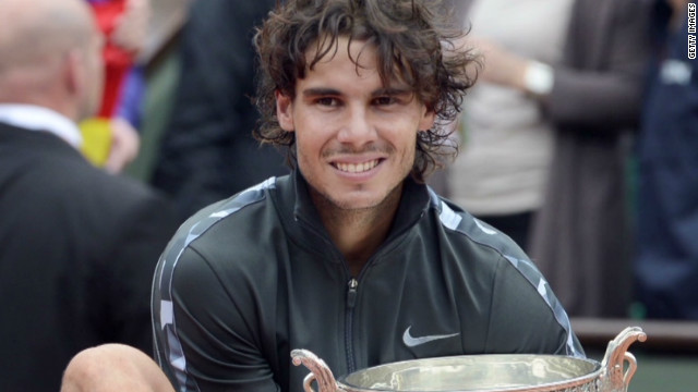Rafael Nadal celebrates his French Open win, June 11, 2012.