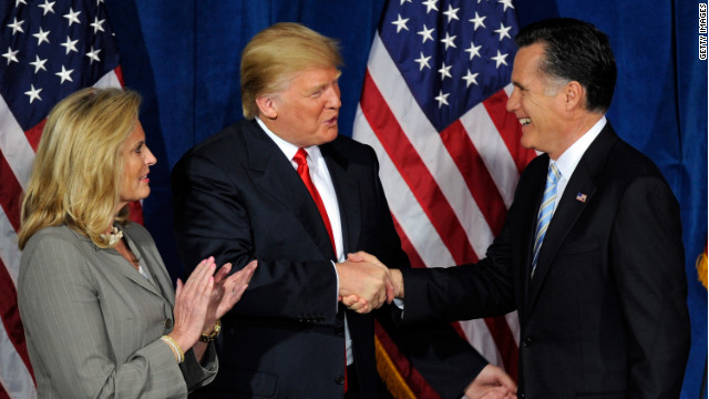 Tycoon Donald Trump endorses Mitt Romney in Las Vegas in February. The candidate's wife, Ann Romney, is also on hand.