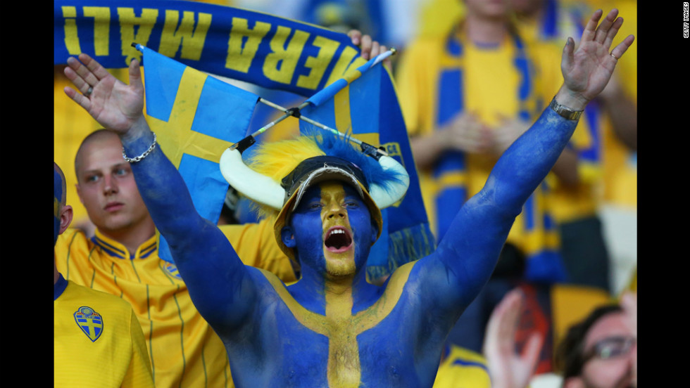 A Swedish fan soaks up the atmosphere ahead of Monday's match against Ukraine.