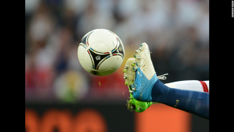 Players compete for control of the ball during the England-France match on Monday.