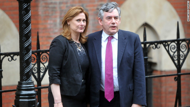 Former Prime Minister Gordon Brown and his wife Sarah Brown attend The Leveson Inquiry on June 11, 2012 in London.