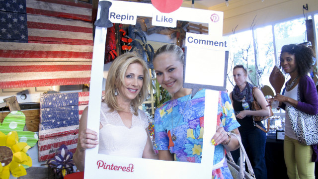 Tracey Fortune and Anastasia Pekhtereva attend a party for Pinterest fans in Atlanta.