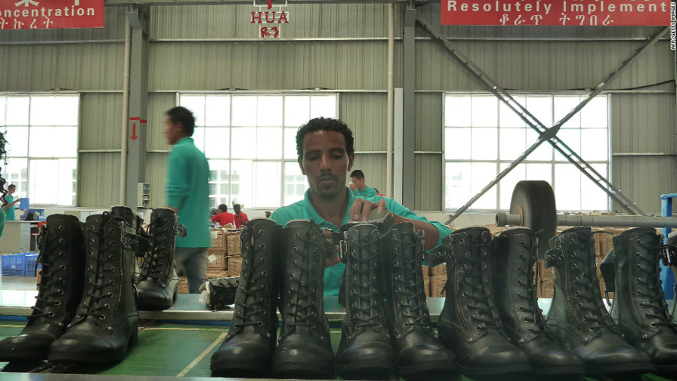 The Ethiopia-based factory exports around 20,000 pairs of shoes a month.