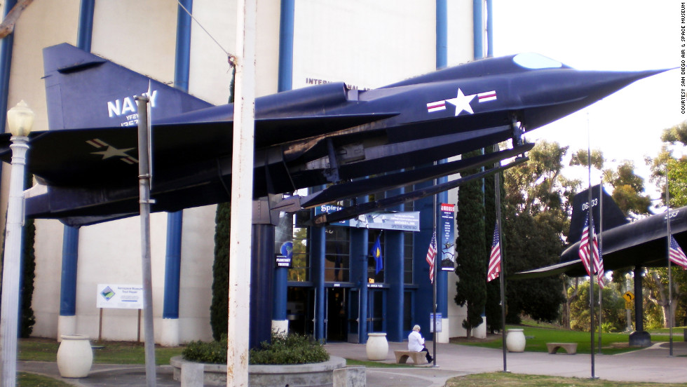 """Welcoming visitors to the <a href=""""http://www.sandiegoairandspace.org/"""" target=""""_blank"""">San Diego Air & Space Museum </a>is the U.S. Navy's Sea Dart. It was designed as """"the first combat-type plane equipped with retractable hydro-skis, the first delta-winged seaplane, and the first supersonic seaplane in the world,"""" according to the museum."""