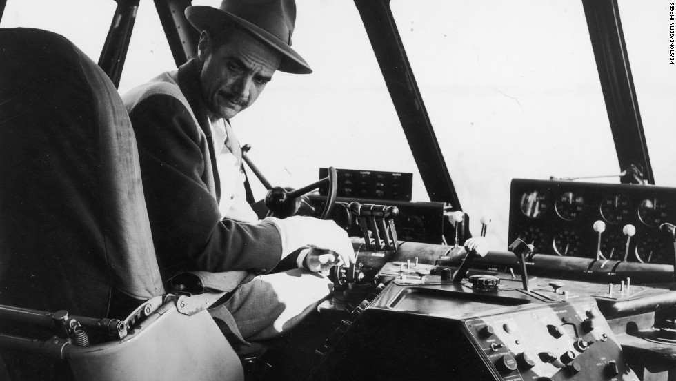 "This photo shows billionaire businessman and aviator Howard Hughes in the aircraft's cockpit on the actual day of its only flight -- November 2, 1947. Hughes was at the controls off Long Beach, California, when the giant plane flew for one minute a distance of a little more than one mile at an altitude of 70 feet, <a href=""http://www.evergreenmuseum.org/the-museum/aircraft-exhibits/the-spruce-goose/"" target=""_blank"">according to the museum</a>."