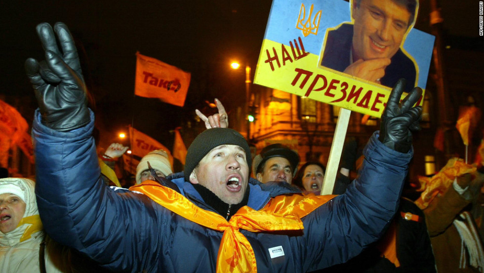 A peaceful, mass protest known as the Orange Revolution broke out in 2004 after questions were raised about the recent presidential election. It led to the result being overturned and in the subsequent internationally-monitored election, Viktor Yushchenko was declared the winner. In 2010 Viktor Yanukovych  - Yushchenko's rival in 2004 - was elected president.