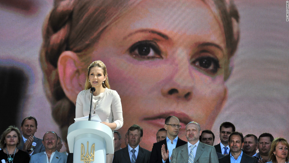 Before the tournament began many of Europe's leaders said they would not attend the competition in protest at the imprisonment and treatment of Yulia Tymoshenko, former prime minister and political rival of president Yanukovych. Her daughter (left) and supporters continue to campaign for her release.
