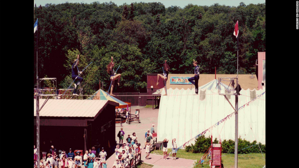 Nik Wallenda takes to the wire for the first time professionally at age 13.