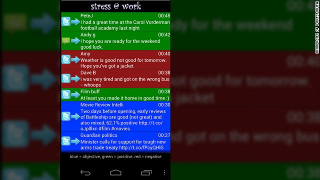 """Stress @ Work"" color-codes incoming messages on Facebook, Twitter and via text to predict their mood."