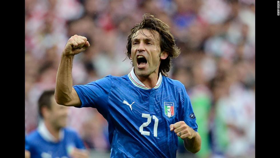Andrea Pirlo of Italy celebrates scoring the opening goal against Croatia.