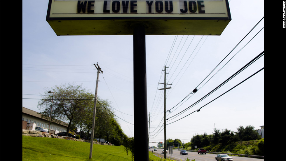 This sign posted on a road near the town of Bellefonte, Pennsylvania, shows support for former Penn State head football coach Joe Paterno.