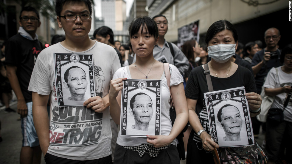 Li, whose picture Hong Kong protesters carried on Sunday, had spent more than 20 years in jail for his role in support of the 1989 Tiananmen democracy protests.