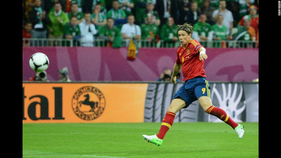 Fernando Torres of Spain scores the team's first goal against Ireland.