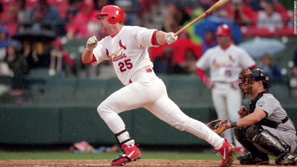 Slugger Mark McGwire evaded questions about steroid use before Congress in 2005 but in 2010 admitted that he had used steroids during the 1990s.