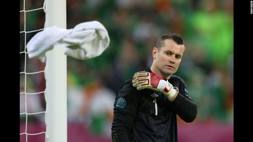Shay Given of Republic of Ireland tosses the towel during the group C match between Spain and Ireland  in Gdansk, Poland, on Thursday, June 14.