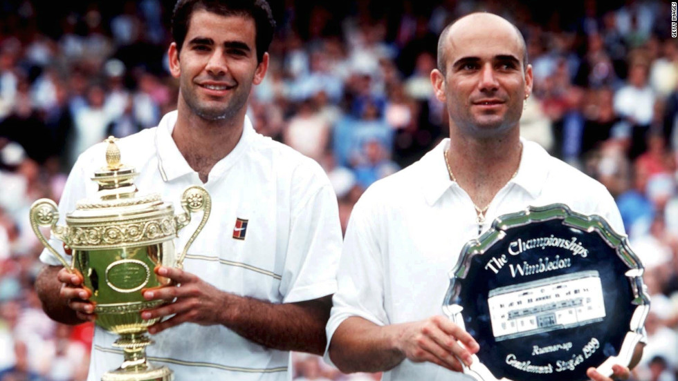 Pete Sampras, left, celebrated his sixth Wimbledon success in 1999 after beating Andre Agassi in the final.