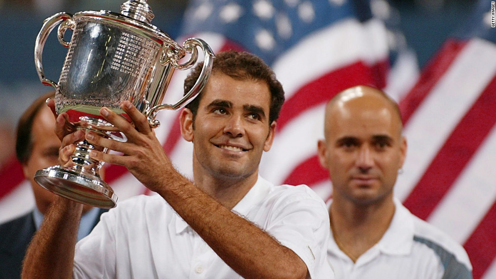 Pete Sampras enjoys his 14th and final grand slam triumph at the 2002 U.S. Open after beating Andre Agassi in the final.