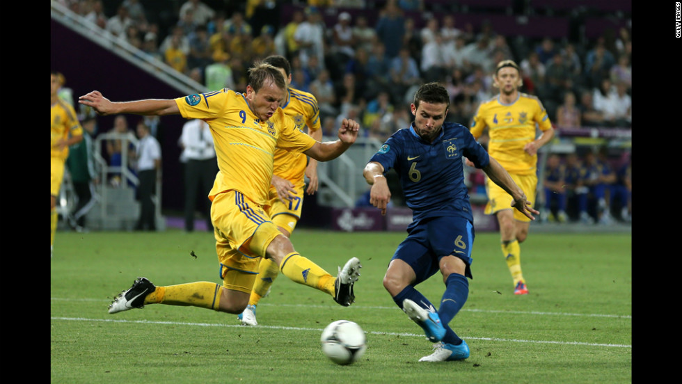 Yohan Cabaye of France scores the second goal past  Oleh Husyev of Ukraine during the match between Ukraine and France.