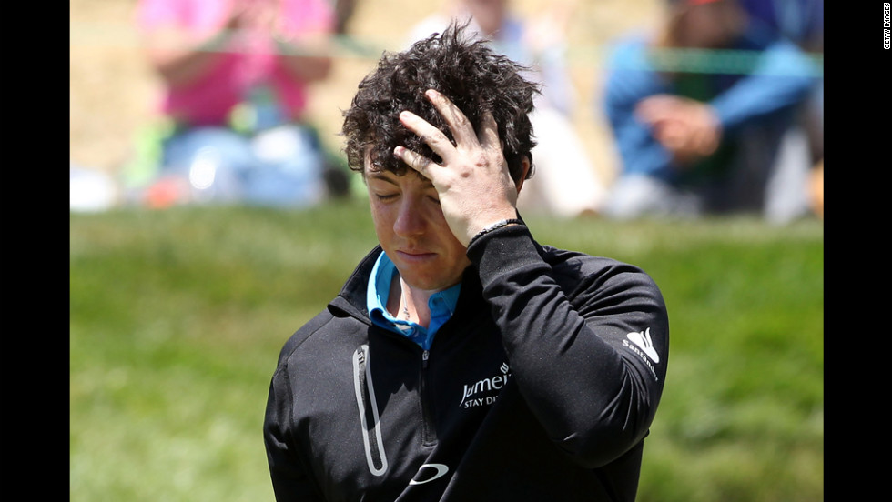 Rory McIlroy of Northern Ireland walks off the eighth green during the second round.