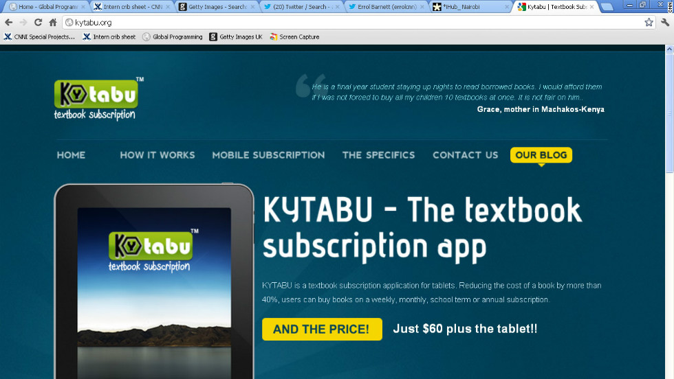 The Kytabu app was developed at iHub. It brings students digitized version of text books, making them cheaper and more accessible.