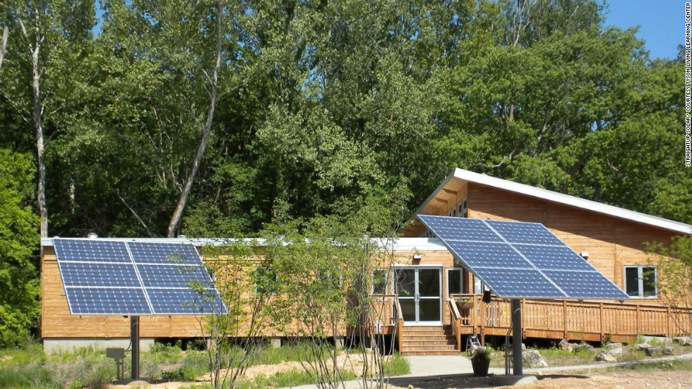 Net zero energy is created by photovoltaic panels mounted on the roof and two horizontal trackers in the front of the building. A rainwater harvesting system provides potable water and graywater is treated in an infiltration garden. Within the building, composting toilets eliminate waste.