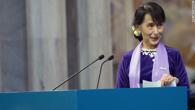 Nobel peace prize laureate, Myanmar opposition leader Aung San Suu Kyi gives her Nobel lecture in Oslo on June 16, 2012. Suu Kyi will visit Norway, Britain, France and Ireland on her more than two-week tour, which will include a speech in Oslo to formally accept the Nobel Peace Prize that thrust her into the global limelight two decades ago. AFP PHOTO /   DANIEL SANNUM LAUTEN        (Photo credit should read DANIEL SANNUM LAUTEN/AFP/GettyImages)