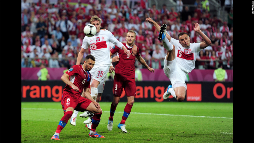 Dariusz Dudka of Poland goes in to win the ball during the match between Czech Republic and Poland.
