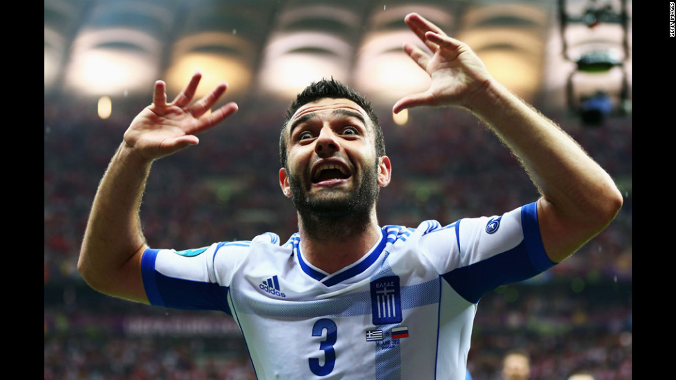 Giorgos Tzavelas of Greece celebrates during the match between Greece and Russia.