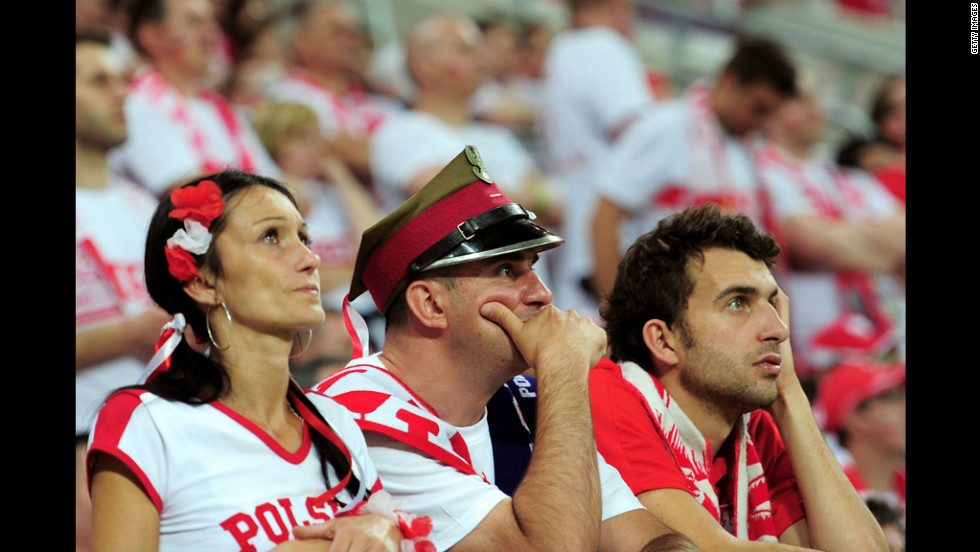 Poland fans look on during the match between Czech Republic and Poland.