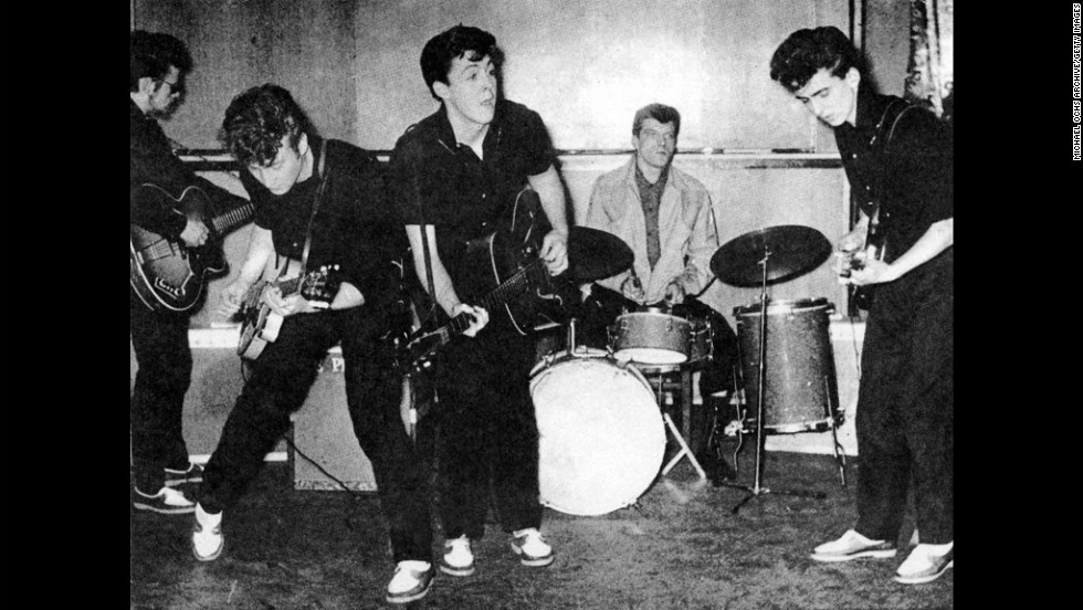The Silver Beatles, consisting of Stu Sutcliffe (from left), John Lennon, Paul McCartney, Johnny Hutch and George Harrison, perform on stage in Liverpool, England, in 1960.