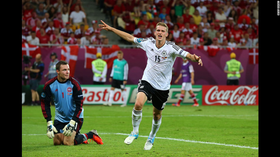 Germany's Lars Bender celebrates during the match against Denmark.