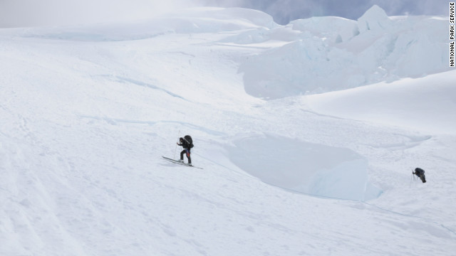 Rescuers search for the missing climbers on Mount McKinley.