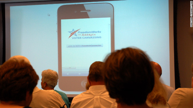 An app to aid in voter canvassing with smartphones  is one of the tools FreedomWorks provides to conservative activists and local tea party groups.