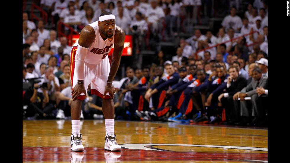 LeBron James of the Miami Heat catches his breath in the first half.